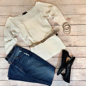 WHBM sweater white & gold metallic size small